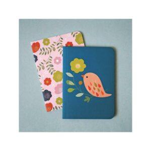 2 carnets mini labo oiseau et fleur
