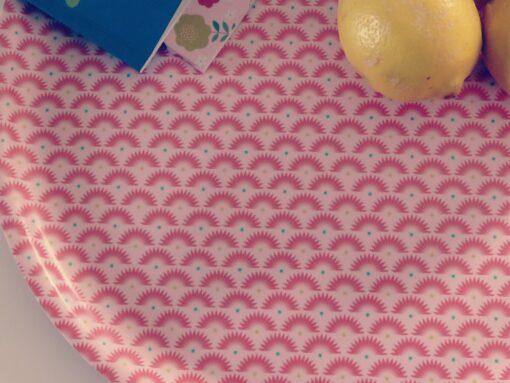 Plateau Mini labo bouleau motif rouge