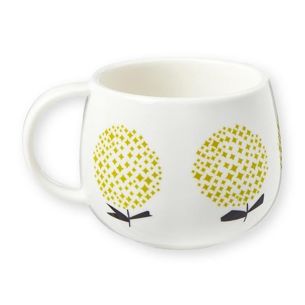 mug fleurs jaunes en porcelaine blanche