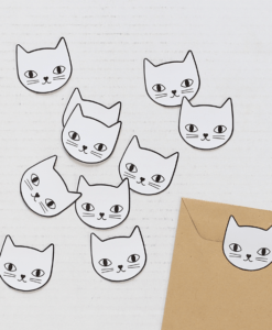 Stickers Tête de chats Audrey Jeanne, lot de 10