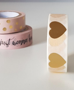 Masking tape Coeurs dorés
