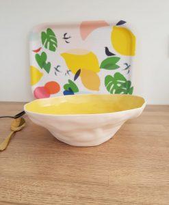 Saladier Bloomingville jaune et blanc