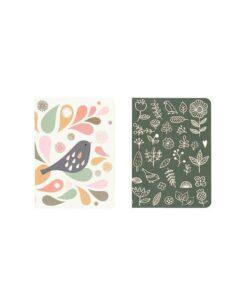 Lot de 2 carnets Mini Labo Tableau/Oiseau