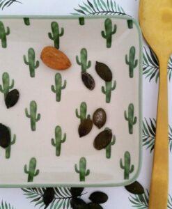 assiette cactus rectangulaire bloomingville jade