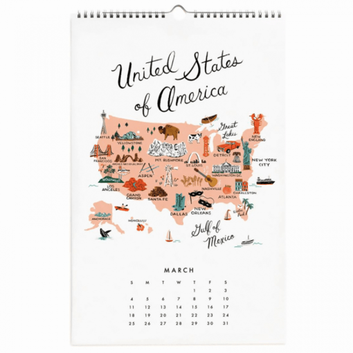 Calendrier 2018 Map of the World Rifle Paper