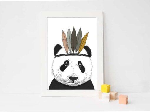 Affiche A3 / A4 Panda Indien Minimel