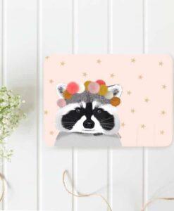 Carte Postale Raton laveur & Pompons Minimel