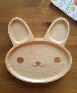 Assiette lapin en bois 1