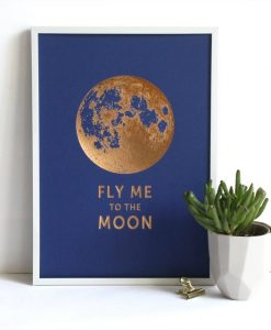 Affiche Fly me to the Moon Les Editions du Paon bleu saphir