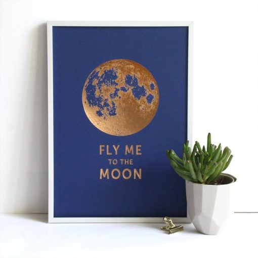 Affiche Fly me to the Moon Les Editions du Paon bleu saphir