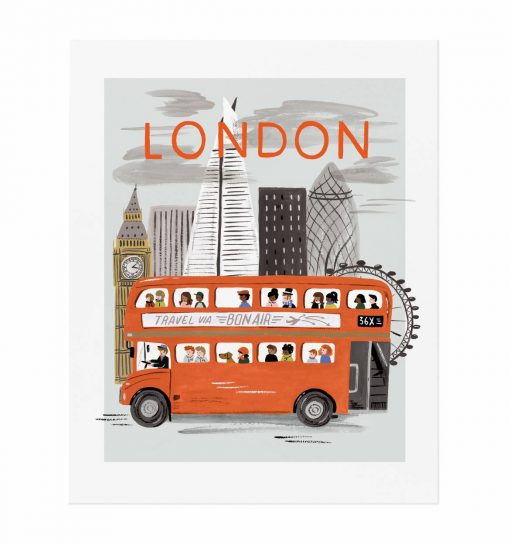 Affiche Londres Rifle Paper Co World Traveler