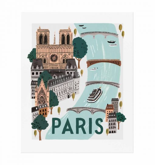 Affiche Paris Rifle Paper Co World Traveler