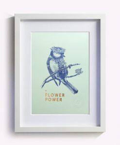 Affiche Flower Power Les Editions du Paon vert d'eau