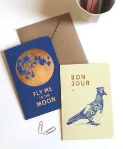 Carte Bonjour Fly me to the moon Les Editions du Paon