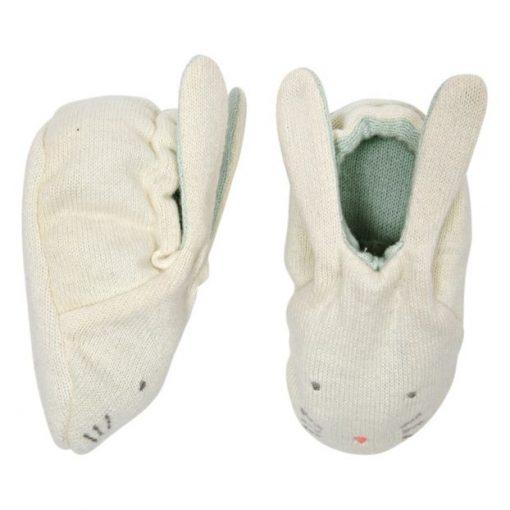 Chaussons pour bébé Lapin coton bio Meri Meri menthe