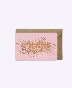 Mini carte Bisou confettis Rose Les Editions du Paon