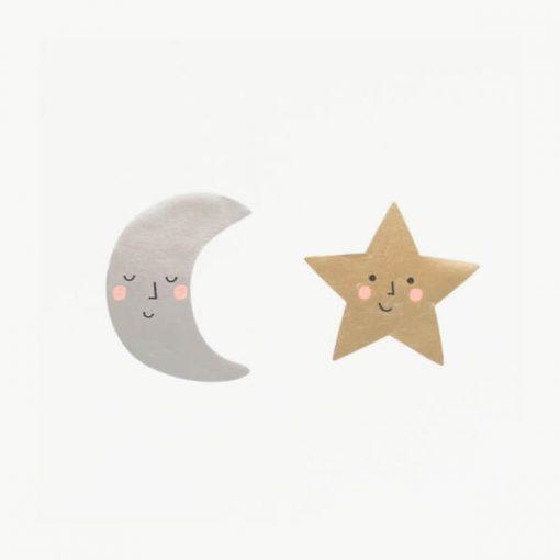 Rouleau 50 stickers étoiles et lunes Meri Meri