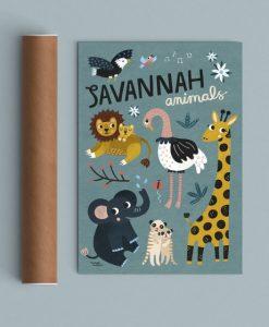 Affiche Animaux de la Savane Michelle Carlslund