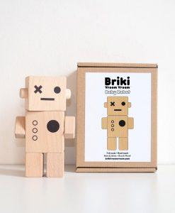 Robot Briki Vroom Vroom bois naturel