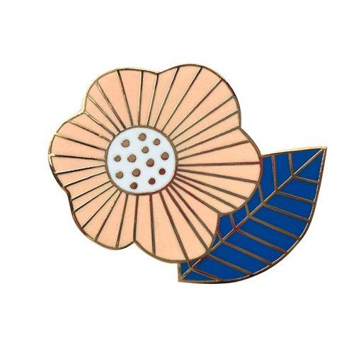 Pin's Mini Labo fleur vintage poudre