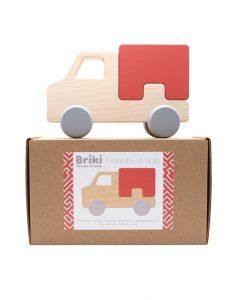 Camion en bois Briki Vroom Vroom rouge brique