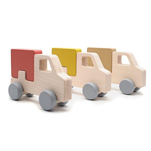 Camion en bois Briki Vroom Vroom jaune moutarde