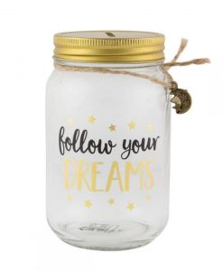Tirelire pot en verre Sass and Belle Follow your dreams