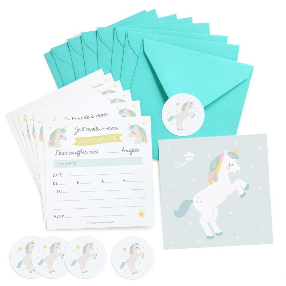 Kit Invitations Anniversaire Enfant Zu Licorne Lot De 8 Pastel Shop