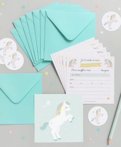 Kit Invitations anniversaire enfant Zü licorne Lot de 8
