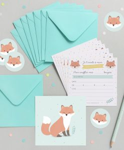 Kit Invitations anniversaire enfant Zü renard Lot de 8