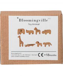 Figurines animaux en bois – lot de 8