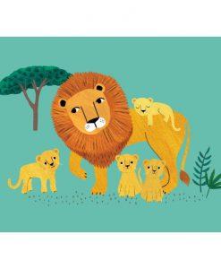 Carte Lion et lionceaux