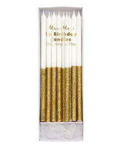 Bougies d'anniversaire Paillettes dorées Meri Meri