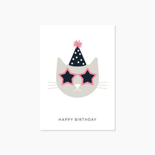 Carte anniversaire Audrey Jeanne Happy Birthday chat