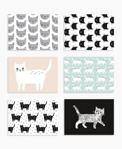 Lot de 6 cartes chat Audrey Jeanne