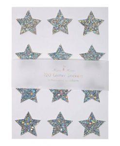 Stickers étoiles Meri Meri – Set de 120, Paillettes argentées