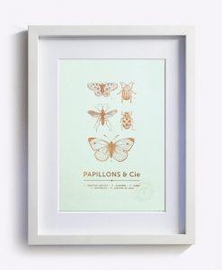 Affiche Papillons & Cie Les Editions du Paon vert d'eau