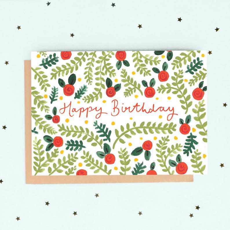 carte anniversaire fleurs folk jade fisher