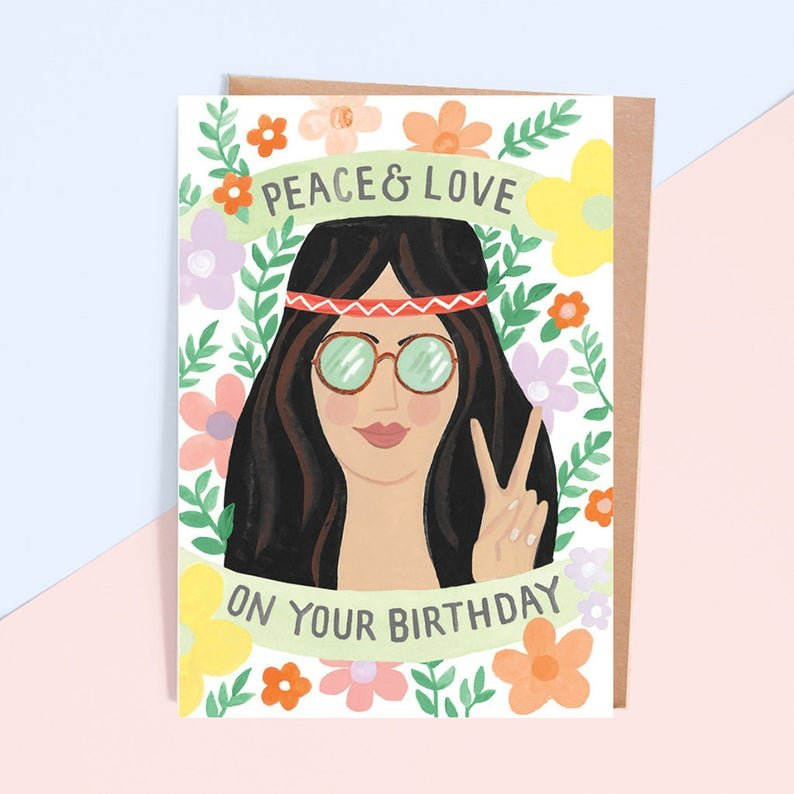 carte d'anniversaire peace and love jade fisher