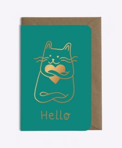 Carte Hello Cat in love Les Editions du Paon émeraude