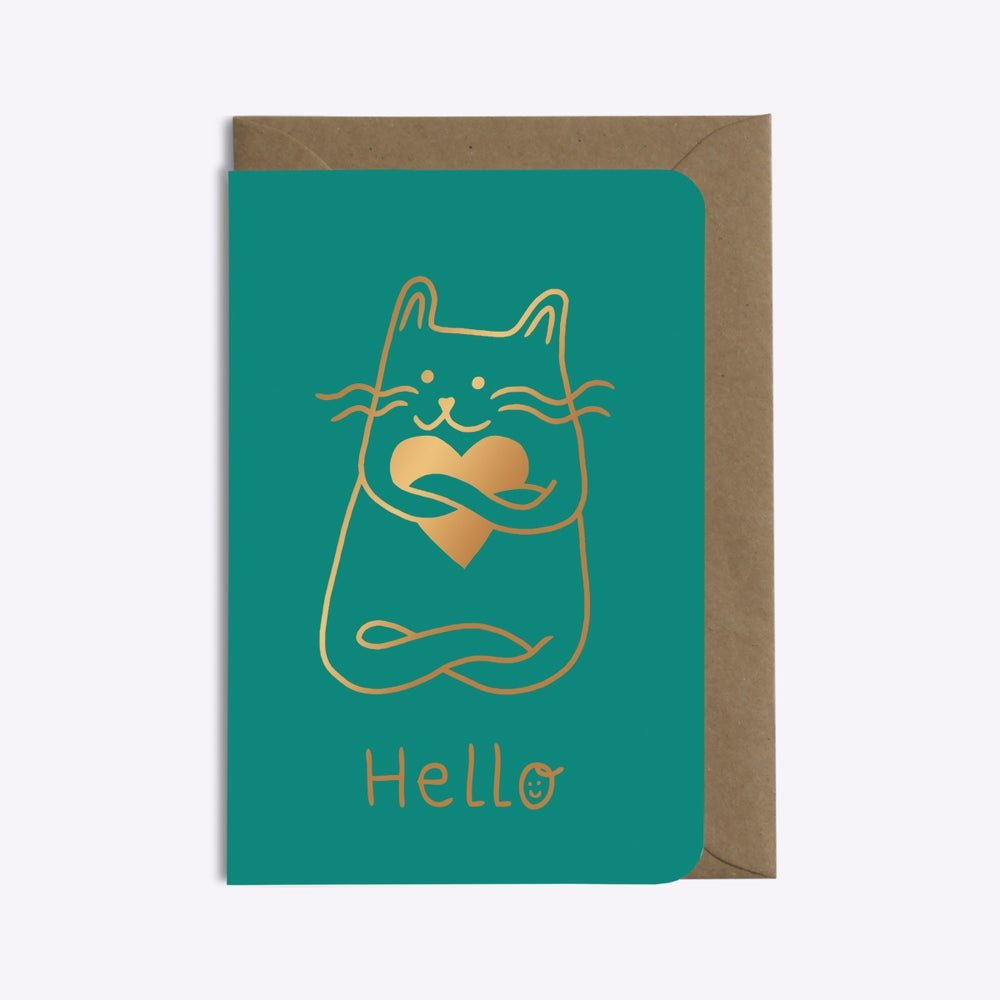 carte hello cat in love editions du paon