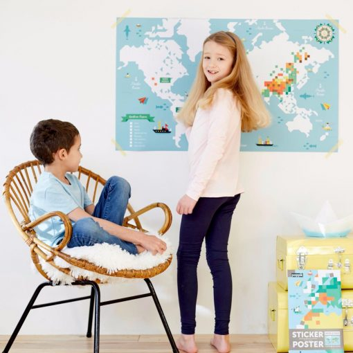 Sticker Poster – Carte du monde