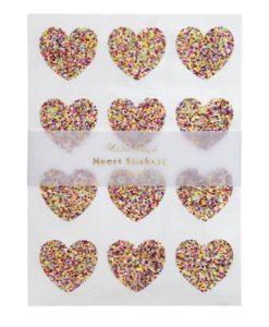 Stickers coeurs pailletés Meri Meri – Set de 120