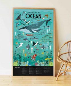Poster géant + 59 stickers – Animaux des Océans