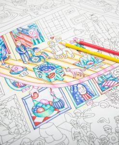 Poster à colorier Crazy Museum OMY