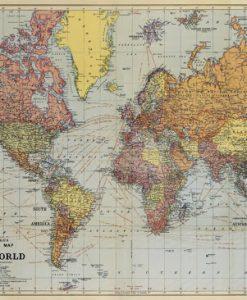Affiche carte du monde vintage 2 Cavallini