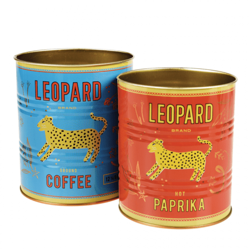 Set de 2 pots en métal – Boîtes de conserve Léopard