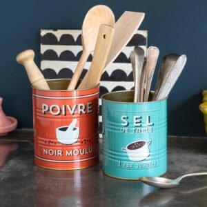 Set de 2 pots en métal – Boîtes de conserve Sel et poivre