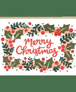 Carte Merry Christmas Houx Jade Fisher
