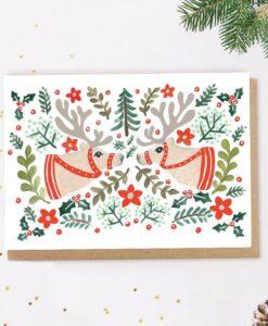 Carte de Noël Renne scandinave Jade Fisher